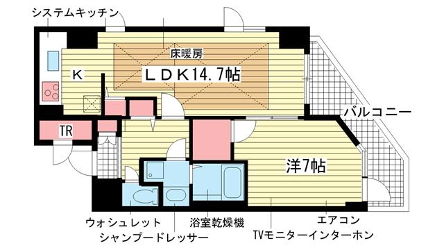 物件番号: 1025841510 プレサンス神戸駅前グランツ  神戸市中央区中町通3丁目 1LDK マンション 間取り図