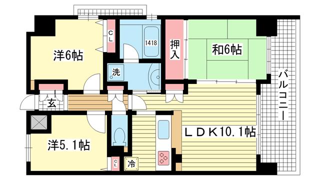 物件番号: 1025842053 エスリード神戸熊内  神戸市中央区熊内町4丁目 2SLDK マンション 間取り図