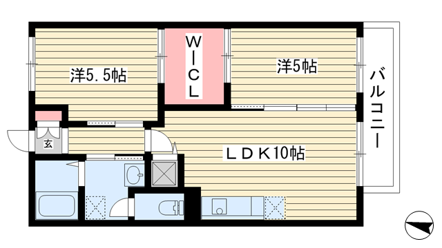 物件番号: 1025842070 グッドヒル  神戸市東灘区魚崎南町3丁目 2LDK ハイツ 間取り図
