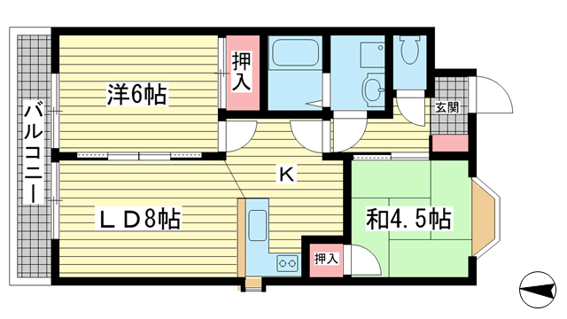 物件番号: 1025842417 マローネンバウム  神戸市中央区中山手通6丁目 2LDK マンション 間取り図