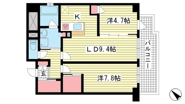 物件番号: 1025842734 グランティーク下沢通  神戸市兵庫区下沢通2丁目 2LDK マンション 間取り図