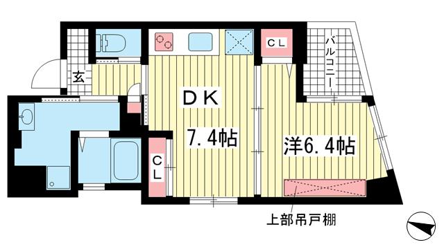 物件番号: 1025842788 プリオーレ中山手  神戸市中央区中山手通3丁目 1DK マンション 間取り図