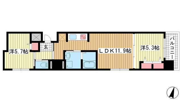 物件番号: 1025842899 プリオーレ三宮  神戸市中央区磯辺通2丁目 2LDK マンション 間取り図