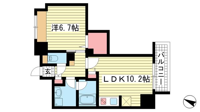 物件番号: 1025843039 ESTANCIA元町  神戸市中央区元町通3丁目 1LDK マンション 間取り図