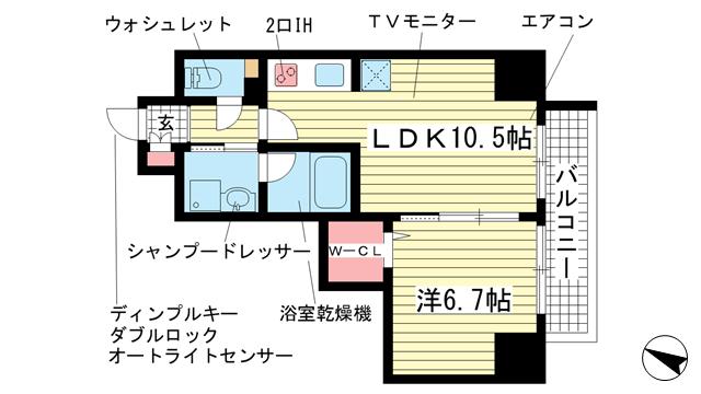 物件番号: 1025843042 ESTANCIA元町  神戸市中央区元町通3丁目 1LDK マンション 間取り図