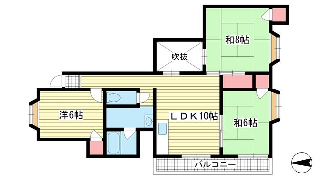 物件番号: 1025843074 ハイツ北田  神戸市中央区葺合町字馬止 3LDK マンション 間取り図