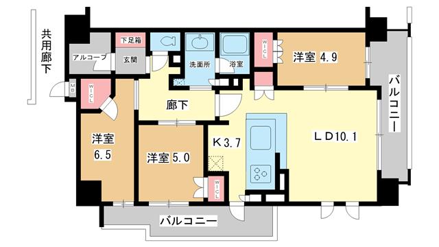 物件番号: 1025844054 ローレルコート神戸元町  神戸市中央区栄町通2丁目 3LDK マンション 間取り図