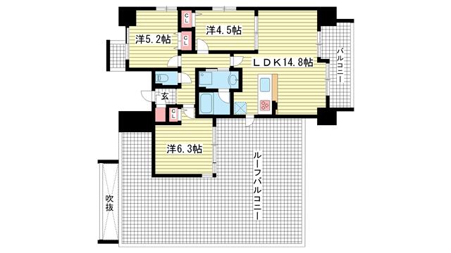 物件番号: 1025844719 サムティグランツ神戸  神戸市兵庫区湊町1丁目 3LDK マンション 間取り図