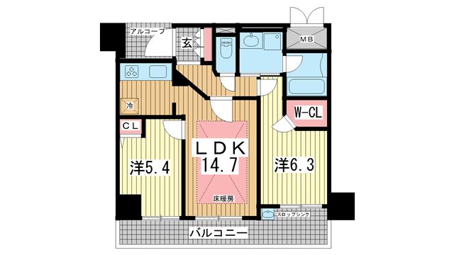 物件番号: 1025845038 エステムプラザ神戸元町・海岸通  神戸市中央区海岸通4丁目 2LDK マンション 間取り図