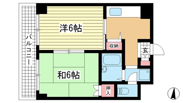 物件番号: 1025845160 阿部ビル  神戸市中央区北長狭通2丁目 2DK マンション 間取り図