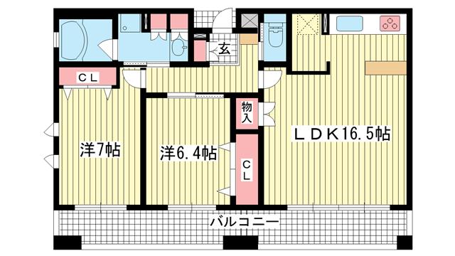 物件番号: 1025845177 プレジール三宮  神戸市中央区加納町2丁目 2LDK マンション 間取り図