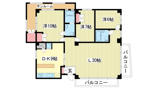 物件番号: 1025845663 山手タワーズ  神戸市中央区山本通4丁目 3LDK マンション 間取り図