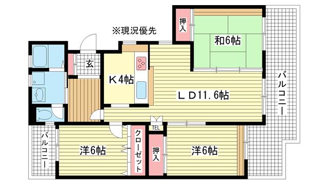 物件番号: 1025846144 ワコーレ赤坂山手  神戸市灘区赤坂通8丁目 3LDK マンション 間取り図