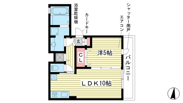 物件番号: 1025846346 フラット松原  神戸市兵庫区松原通1丁目 1LDK マンション 間取り図