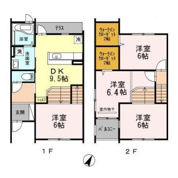 物件番号: 1025846418 コージィコート  神戸市東灘区岡本9丁目 4DK テラスハウス 間取り図