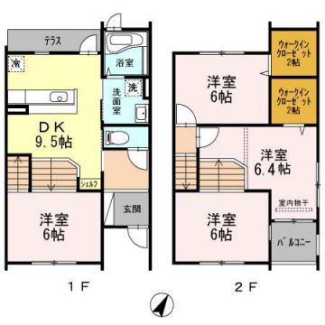 物件番号: 1025846419 コージィコート  神戸市東灘区岡本9丁目 4DK テラスハウス 間取り図