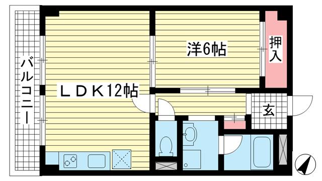 物件番号: 1025846499 セルフィーユ諏訪山  神戸市中央区中山手通4丁目 1LDK マンション 間取り図