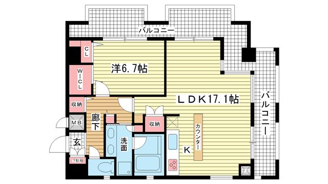 物件番号: 1025846530 ラ・ウェゾン神戸海岸通  神戸市中央区海岸通5丁目 1LDK マンション 間取り図