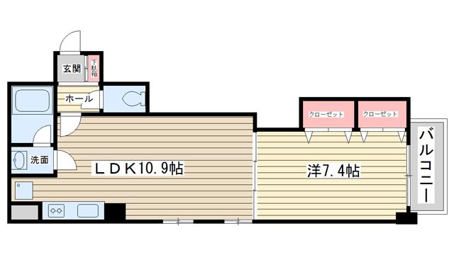 物件番号: 1025846567 アミーグランコート三宮  神戸市中央区浜辺通3丁目 1LDK マンション 間取り図