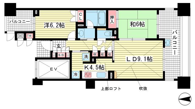 物件番号: 1025847393 ケーズ・スクエア  神戸市中央区二宮町3丁目 2LDK マンション 間取り図