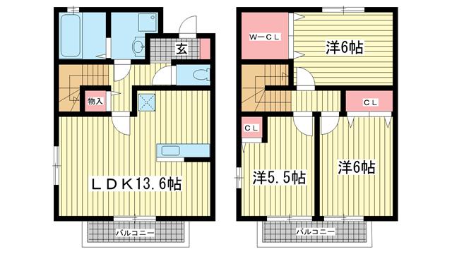 物件番号: 1025848014 ポルトヴィラージュ  神戸市須磨区多井畑清水 3LDK テラスハウス 間取り図