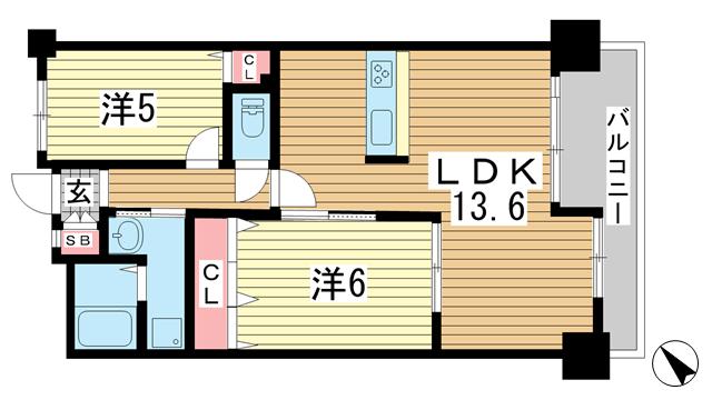 物件番号: 1025848321 ワコーレグランディール御旅  神戸市兵庫区塚本通5丁目 2LDK マンション 間取り図
