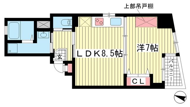 物件番号: 1025848727 プリオーレ中山手  神戸市中央区中山手通3丁目 1DK マンション 間取り図