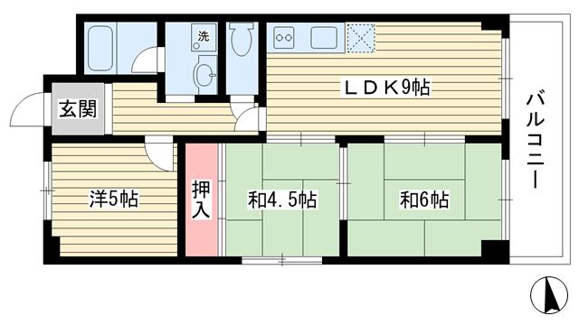 物件番号: 1025849063 Belltree須磨  神戸市須磨区妙法寺字トン松 3LDK マンション 間取り図