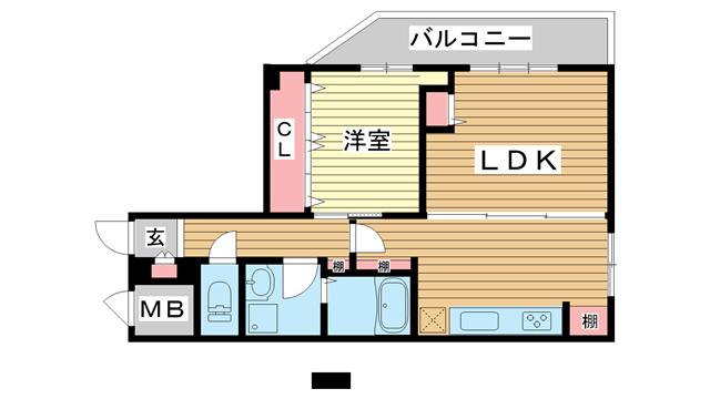 物件番号: 1025850198 Leafy北野  神戸市中央区山本通2丁目 2LDK マンション 間取り図