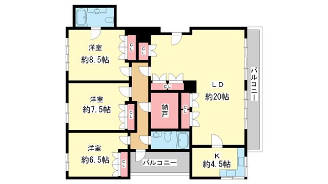 物件番号: 1025850252 第4スカイマンション  神戸市中央区北野町2丁目 3LDK マンション 間取り図