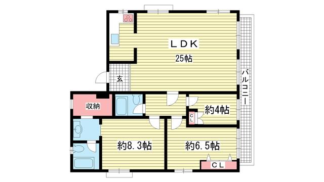 物件番号: 1025850259 第5スカイマンション  神戸市中央区北野町4丁目 3LDK マンション 間取り図