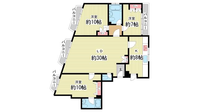 物件番号: 1025850260 第3スカイマンション  神戸市中央区北野町4丁目 3LDK マンション 間取り図