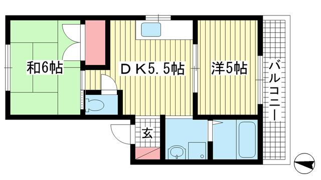 物件番号: 1025850288 俊成マンション  神戸市中央区宮本通5丁目 2DK マンション 間取り図