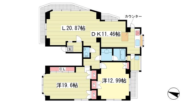 物件番号: 1025850309 ヒルビューマンション  神戸市中央区山本通5丁目 2LDK マンション 間取り図