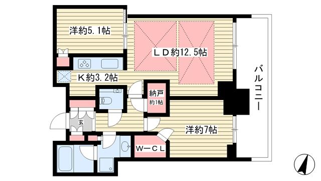 物件番号: 1025850422 シティタワー神戸三宮  神戸市中央区旭通4丁目 2LDK マンション 間取り図