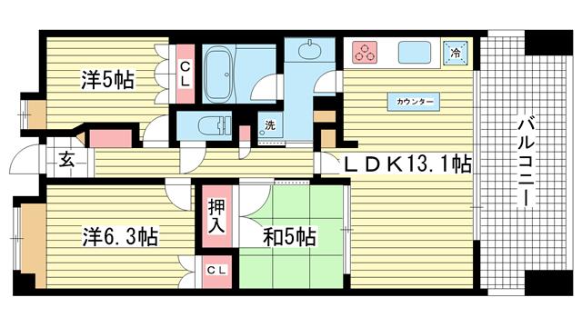 物件番号: 1025850508 アーバネックス三宮磯辺通  神戸市中央区磯辺通1丁目 3LDK マンション 間取り図