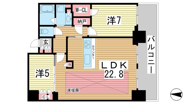 物件番号: 1025851032 シティタワー神戸三宮  神戸市中央区旭通4丁目 2SLDK マンション 間取り図