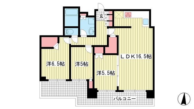 物件番号: 1025851034 シティタワー神戸三宮  神戸市中央区旭通4丁目 3LDK マンション 間取り図