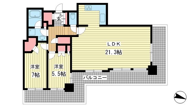物件番号: 1025851175 シティタワー神戸三宮  神戸市中央区旭通4丁目 2LDK マンション 間取り図