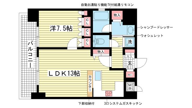 物件番号: 1025851232 リーガル神戸下山手  神戸市中央区下山手通3丁目 1LDK マンション 間取り図