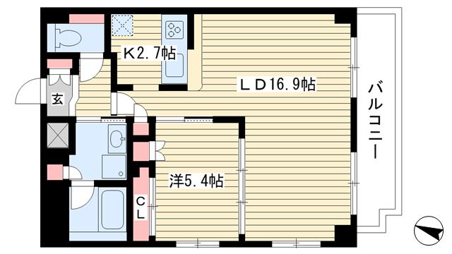 物件番号: 1025851461 Villa ovest(ヴィラ オーベスト)  神戸市中央区国香通2丁目 1LDK マンション 間取り図