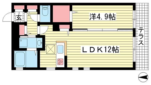 物件番号: 1025851627 Wisteria熊内  神戸市中央区熊内町5丁目 1LDK マンション 間取り図