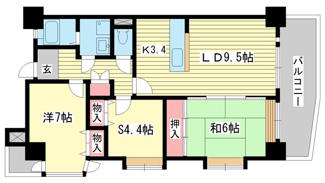 物件番号: 1025851712 六甲クローネ  神戸市灘区備後町3丁目 2SLDK マンション 間取り図