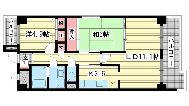 物件番号: 1025851715 新神戸ネクステージ  神戸市中央区生田町3丁目 2LDK マンション 間取り図