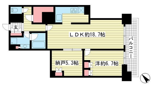 物件番号: 1025852287 アーバンライフ神戸三宮ザ・タワー  神戸市中央区加納町6丁目 1SLDK マンション 間取り図