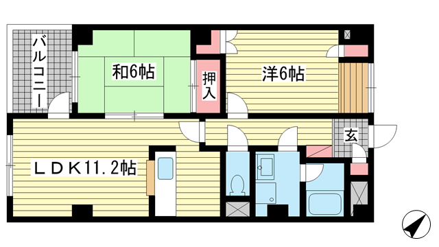 物件番号: 1025852438 リバーコート湊川Ⅱ  神戸市兵庫区荒田町3丁目 2LDK マンション 間取り図