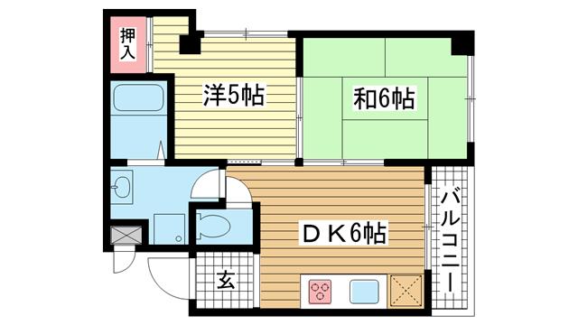 物件番号: 1025852881 サンライズ中山手  神戸市中央区中山手通2丁目 2DK マンション 間取り図