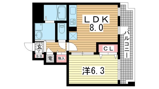 物件番号: 1025852966 ルミエール オクティア  神戸市中央区元町通3丁目 1LDK マンション 間取り図