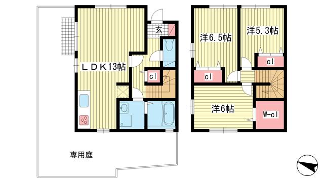 物件番号: 1025853061 グレイス  芦屋市親王塚町 3LDK テラスハウス 間取り図