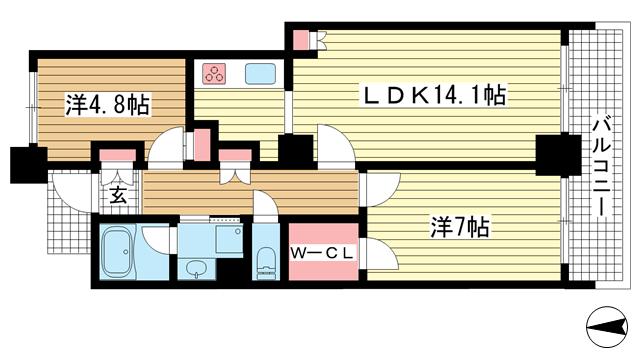 物件番号: 1025853111 ワコーレ神戸灘タワー  神戸市灘区灘北通10丁目 2LDK マンション 間取り図